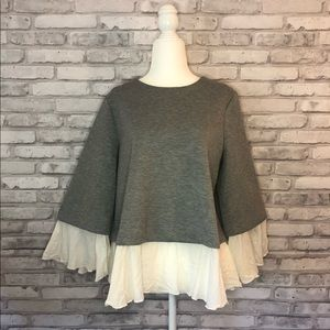 Halogen Gray & White Pullover Sweater Size M